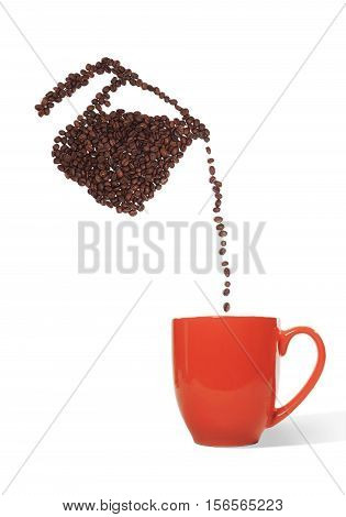 Still Life of a Coffee Pot Made of Coffee Beans Pouring Beans into a Ceramic Red Cup on White Background