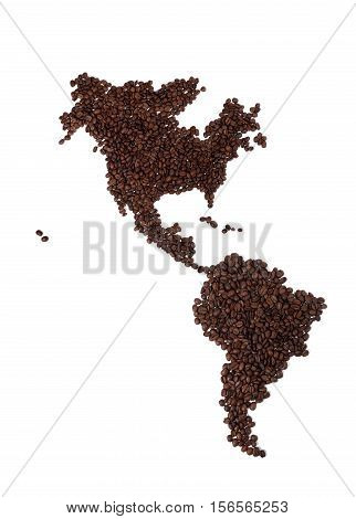 Map of North and South America Made of Coffee Beans