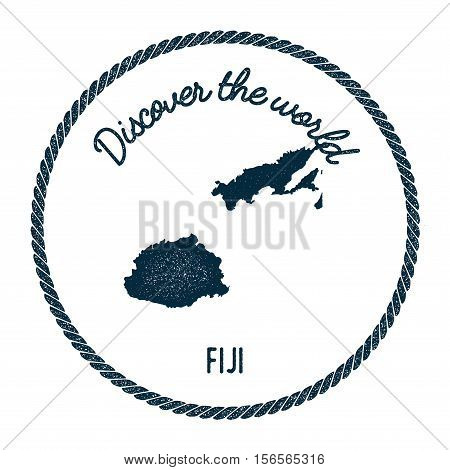 Vintage Discover The World Rubber Stamp With Fiji Map. Hipster Style Nautical Postage Stamp, With Ro