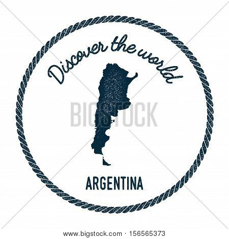 Vintage Discover The World Rubber Stamp With Argentina Map. Hipster Style Nautical Postage Stamp, Wi