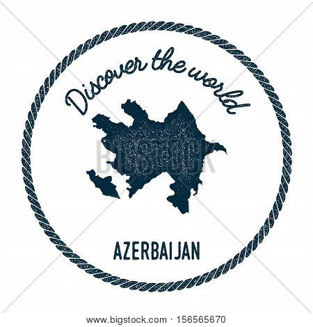 Vintage Discover The World Rubber Stamp With Republic Of Azerbaijan Map. Hipster Style Nautical Post