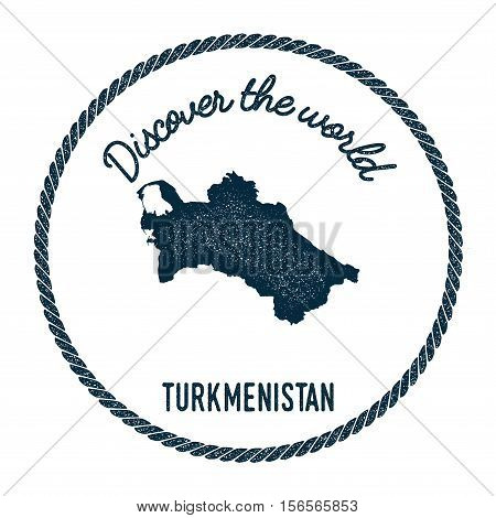 Vintage Discover The World Rubber Stamp With Turkmenistan Map. Hipster Style Nautical Postage Stamp,