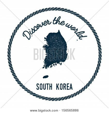 Vintage Discover The World Rubber Stamp With Korea, Republic Of Map. Hipster Style Nautical Postage