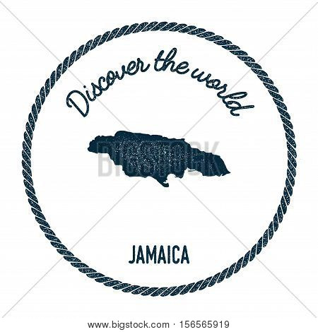 Vintage Discover The World Rubber Stamp With Jamaica Map. Hipster Style Nautical Postage Stamp, With