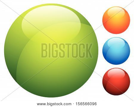 Glossy Button / Badge Shape, Background In 3 Color