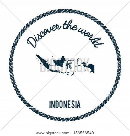 Vintage Discover The World Rubber Stamp With Indonesia Map. Hipster Style Nautical Postage Stamp, Wi