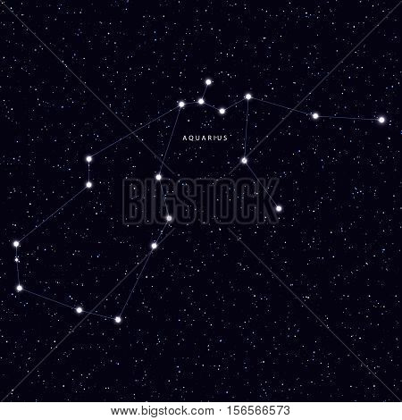 Sky Map with the name of the stars and constellations. Astronomical symbol constellation Aquarius