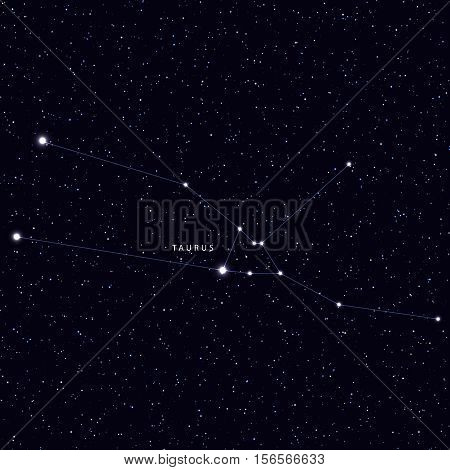 Sky Map with the name of the stars and constellations. Astronomical symbol constellation Taurus