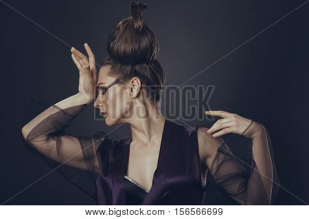 Fashion Woman Having Headache