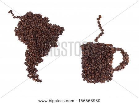 Still Life of a Map of South America and a Coffee Cup Made of Beans on White Background