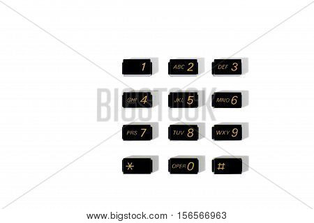 Still Life of a Set of Dialing Pad Buttons from an Old Telephone on White Background