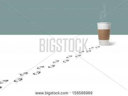 Still Life of a Set of Footprints of a Person Leading to a Takeout Paper Coffee Cup