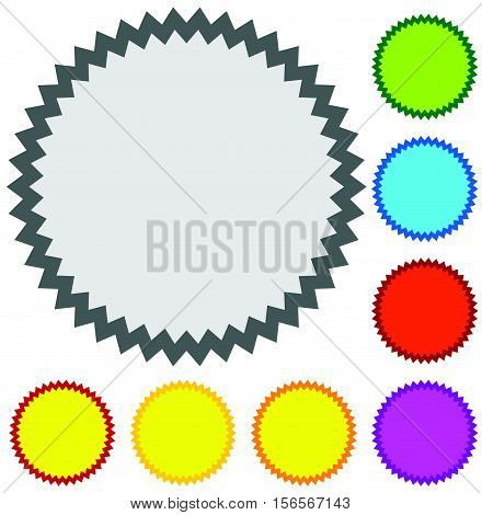 Starburst, Sunburst Badge Shape In 8 Color W Blank Space