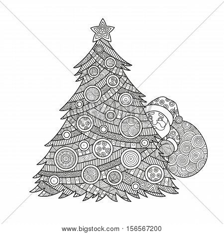 Vector illustration coloring for adults Christmas tree Santa Claus coloring ink with Christmas balls and a star. hand-drawing pattern ornament zentagle happy new year holiday celebration in December merry xmas