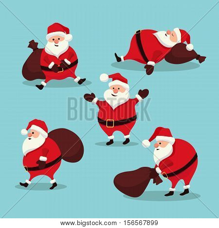 Stock Vector Christmas set Santa Claus New Year. Santa in different positions in flat cartoon style. Sleeps sits drags a bag with gifts