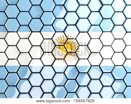 Flag Of Argentina, Hexagon Mosaic Background