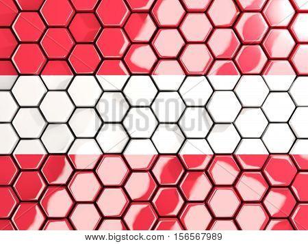 Flag Of Austria, Hexagon Mosaic Background