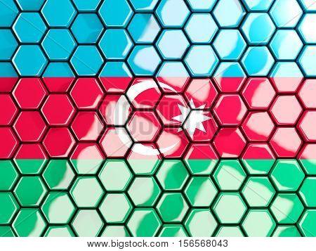 Flag Of Azerbaijan, Hexagon Mosaic Background