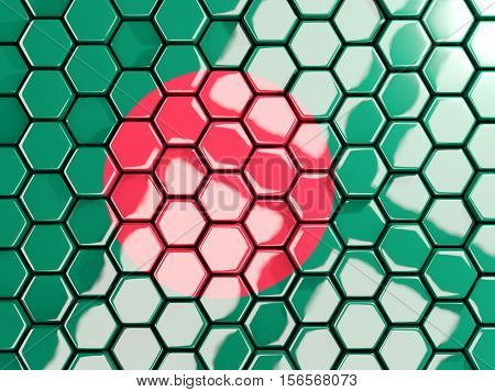 Flag Of Bangladesh, Hexagon Mosaic Background