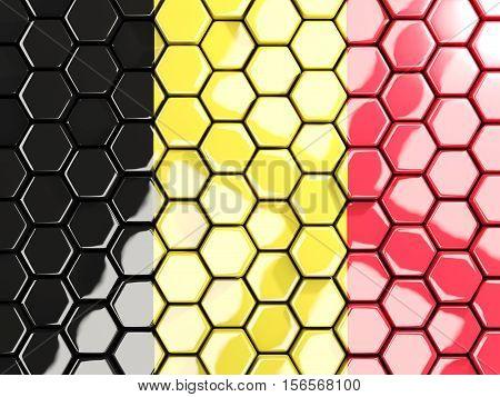 Flag Of Belgium, Hexagon Mosaic Background