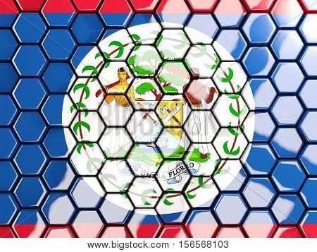 Flag Of Belize, Hexagon Mosaic Background