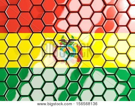 Flag Of Bolivia, Hexagon Mosaic Background