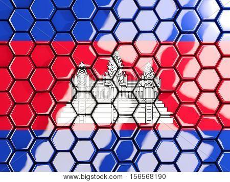 Flag Of Cambodia, Hexagon Mosaic Background