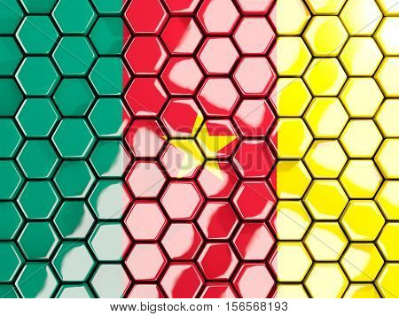 Flag Of Cameroon, Hexagon Mosaic Background