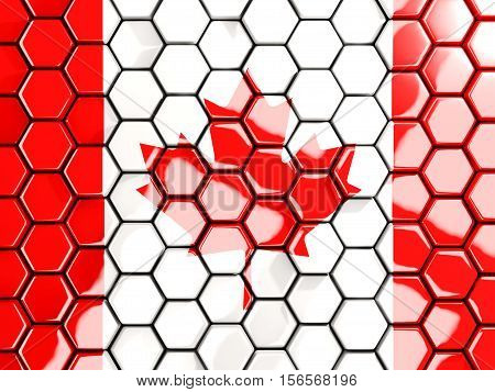 Flag Of Canada, Hexagon Mosaic Background
