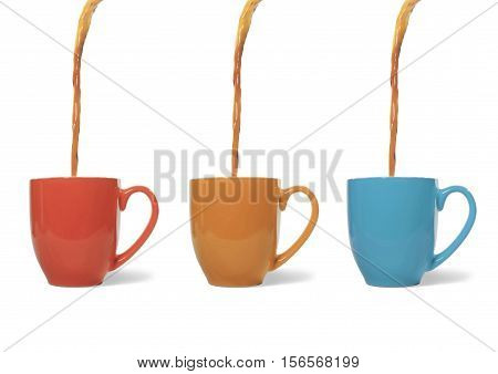 Still life of Coffee Pouring into Three Ceramic Mugs on White Background