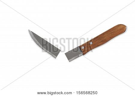 Still life of a Broken Kitchen Knife on White Background