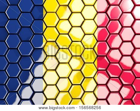Flag Of Chad, Hexagon Mosaic Background