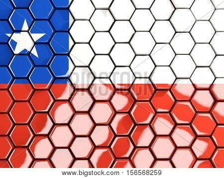 Flag Of Chile, Hexagon Mosaic Background