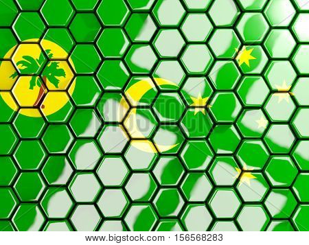 Flag Of Cocos Islands, Hexagon Mosaic Background
