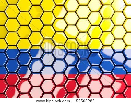 Flag Of Colombia, Hexagon Mosaic Background