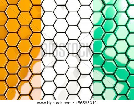 Flag Of Cote D Ivoire, Hexagon Mosaic Background
