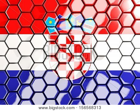 Flag Of Croatia, Hexagon Mosaic Background