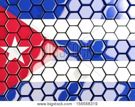 Flag Of Cuba, Hexagon Mosaic Background