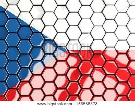 Flag Of Czech Republic, Hexagon Mosaic Background