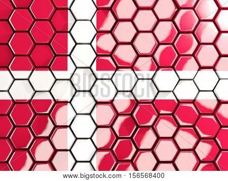 Flag Of Denmark, Hexagon Mosaic Background