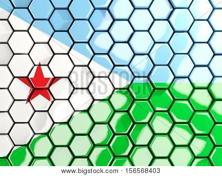 Flag Of Djibouti, Hexagon Mosaic Background