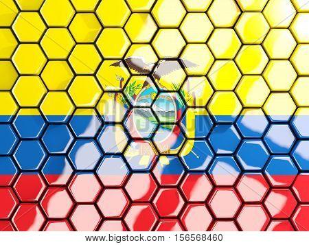 Flag Of Ecuador, Hexagon Mosaic Background