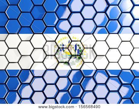 Flag Of El Salvador, Hexagon Mosaic Background