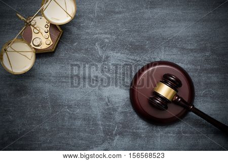 Gavel And Scale Top View
