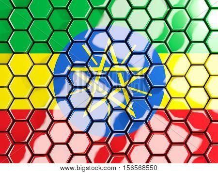 Flag Of Ethiopia, Hexagon Mosaic Background