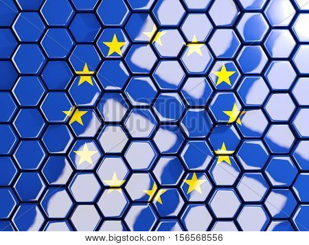 Flag Of European Union, Hexagon Mosaic Background