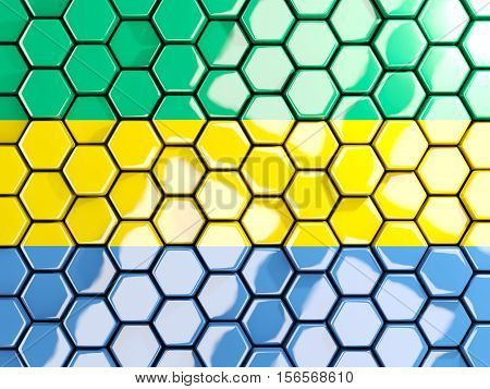 Flag Of Gabon, Hexagon Mosaic Background