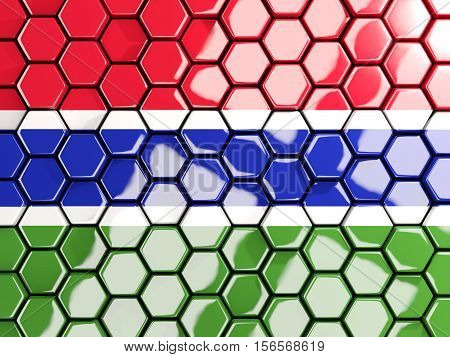 Flag Of Gambia, Hexagon Mosaic Background