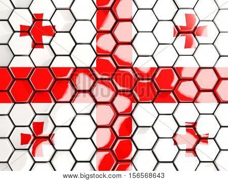 Flag Of Georgia, Hexagon Mosaic Background