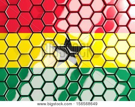 Flag Of Ghana, Hexagon Mosaic Background